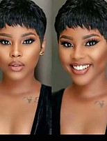 cheap -Remy Human Hair Wig Short Natural Straight Pixie Cut Natural Black Natural Hot Sale Cool Capless Women's Natural Black 6 inch / For Black Women