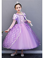 cheap -Princess Rapunzel Dress Flower Girl Dress Girls' Movie Cosplay A-Line Slip Purple Dress Halloween Children's Day Masquerade Polyester