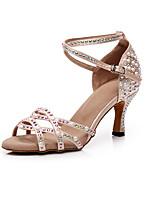 cheap -Women's Dance Shoes Latin Shoes Jazz Shoes Dance Boots Boots Crystal / Rhinestone Slim High Heel Customizable Beige