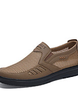 cheap -Men's Summer / Fall Casual / Preppy Daily Outdoor Loafers & Slip-Ons Mesh Non-slipping Wear Proof Black / Khaki / Gray