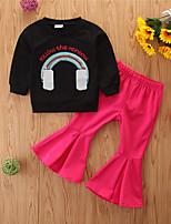 cheap -Toddler Girls' Basic Casual Print Long Sleeve Regular Regular Clothing Set Black