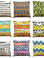 cheap -9 pcs Linen Pillow Cover Coloured Geometric Line Hemp Pillow Case Car Pillow Cushion Sofa Pillow Pillow Office Nap Pillowlow Pillow Office Nap Pillow