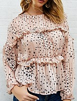 cheap -Women's Blouse Shirt Galaxy Round Neck Tops Summer White Black Blushing Pink