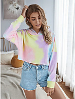cheap -Women's Hoodie Tie Dye Cowl Neck Tops Basic All Seasons Yellow Blushing Pink Gray