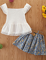 cheap -Kids Girls' Basic Casual Print Sleeveless Regular Regular Clothing Set White