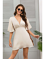 cheap -Women's Sheath Dress Short Mini Dress - Half Sleeve Solid Color Summer V Neck Casual Elegant 2020 Beige S M L XL
