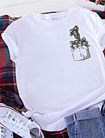 cheap -Women's T-shirt Animal Print Round Neck Tops 100% Cotton Basic Summer Wine White Black