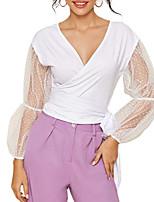 Недорогие -Жен. Блуза Однотонный Верхушки V-образный вырез Повседневные Лето Белый S M L XL