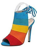 cheap -Women's Sandals Summer Stiletto Heel Open Toe Daily PU Brown / Rainbow