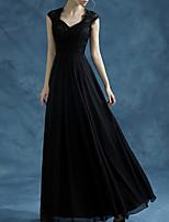 cheap -A-Line Elegant Empire Wedding Guest Formal Evening Dress Queen Anne Sleeveless Floor Length Lace with Sleek 2020