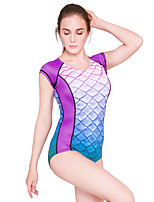 cheap -Women's One Piece Swimsuit Swimwear Short Sleeve Back Zip - Swimming Diving Surfing Summer / High Elasticity