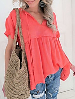 cheap -Women's Blouse Solid Colored V Neck Tops Loose Cotton Summer White Blue Red