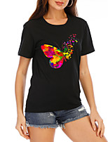cheap -Women's T-shirt Graphic Print Round Neck Tops Loose Cotton Basic Summer Black