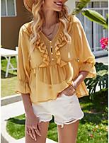 Недорогие -Жен. Блуза Однотонный Верхушки V-образный вырез На выход Желтый S M L XL