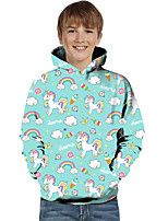 cheap -Kids Toddler Boys' Active Basic Unicorn Geometric Color Block Animal Print Long Sleeve Hoodie & Sweatshirt Green