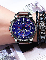 cheap -NIBOSI Men's Sport Watch Quartz Modern Style Stylish Casual Water Resistant / Waterproof Leather Analog - White Blue Black / Blue / Stainless Steel / Noctilucent