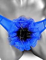 cheap -Men's Flower / Mesh G-string Underwear - Normal Low Waist Blue Purple Red One-Size