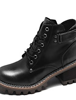 cheap -Women's Boots Cuban Heel Round Toe Casual Basic Daily PU Booties / Ankle Boots Walking Shoes Black / Brown / Coffee