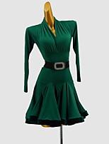 cheap -Latin Dance Dress Sash / Ribbon Split Joint Girls' Training Daily Wear Long Sleeve Cotton