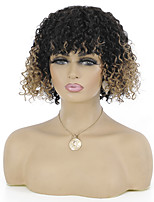 cheap -Remy Human Hair Wig Short Jerry Curl Neat Bang Multi-color Best Quality Capless Brazilian Hair Women's Ombre Black / Medium Auburn 10 inch