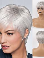 cheap -Remy Human Hair Wig Short Straight Natural Straight Bob Pixie Cut Layered Haircut Asymmetrical White Brown Women Fashion Natural Hairline Capless Women's All Natural Black #1B Medium Auburn#30 Beige