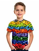 cheap -Kids Boys' Basic Holiday Geometric Print Short Sleeve Tee Rainbow