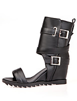 cheap -Women's Sandals Spring / Summer Hidden Heel Open Toe Vintage Sexy Sweet Daily Party & Evening Buckle Solid Colored PU Mid-Calf Boots White / Black