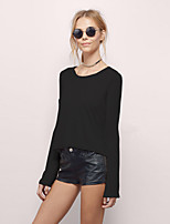 cheap -Women's T shirt Tee / T-shirt Black Backless Cut Out Pure Color Lace up Jewel Neck Cotton Solid Color Cute Sport Athleisure T Shirt Long Sleeve Lightweight Breathable Soft Yoga Tennis Running
