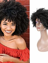 cheap -Remy Human Hair Wig Curly Kinky With Bangs Natural Black Adorable Hot Sale Fashion Capless Women's Natural Black 8 inch / For Black Women