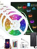 cheap -ZDM Upgraded 65.6ft (4*5M) App Intelligent Control Led Strip Lights IR 24 Key WIFI Controller 5050 RGB LED LED Soft light strip with Adapter Kit DC12V