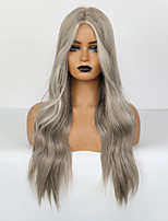 cheap -Synthetic Wig Body Wave Deep Wave Deep Parting Wig Long Silver grey Synthetic Hair 26 inch Women's Adorable Ombre Hair Middle Part Silver