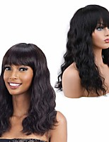 cheap -Remy Human Hair Wig Medium Length Wavy With Bangs Natural Black Party Women Fashion Capless Women's Natural Black 14 inch