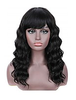 cheap -Remy Human Hair Wig Long Body Wave With Bangs Natural Black Party Women New Arrival Capless Brazilian Hair Women's Natural Black 16 inch