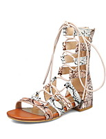 cheap -Women's Sandals Roman Shoes / Gladiator Sandals Summer Flat Heel Open Toe Daily Snakeskin PU White / Orange