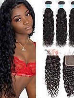 cheap -3 Bundles with Closure Hair Weaves Brazilian Hair Water Wave Human Hair Extensions Remy Human Hair 100% Remy Hair Weave Bundles 345 g Natural Color Hair Weaves / Hair Bulk Human Hair Extensions 8-28