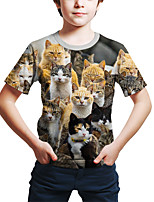 cheap -Kids Toddler Boys' Active Street chic Cat 3D Animal Print Short Sleeve Tee Rainbow