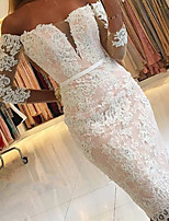 cheap -Mermaid / Trumpet Elegant Floral Engagement Prom Dress Off Shoulder 3/4 Length Sleeve Knee Length Lace with Appliques 2020