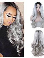cheap -Synthetic Wig Wavy Curly Weave Middle Part Wig Long Grey Synthetic Hair 22 inch Women's New Arrival Comfortable Middle Part Dark Gray
