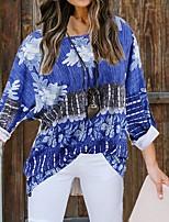 cheap -Women's T-shirt Graphic Prints Long Sleeve Print Round Neck Tops Basic Basic Top White Blue Wine