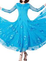 cheap -Ballroom Dance Dress Lace Appliques Women's Training Performance Long Sleeve Polyester