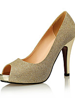 cheap -Women's Heels Pumps Peep Toe Party & Evening Office & Career Synthetics Black / Gold / Silver