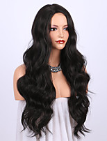 cheap -Synthetic Wig Wavy Curly Weave Asymmetrical Wig Long Black Synthetic Hair 24 inch Women's Party New Arrival Fashion Black