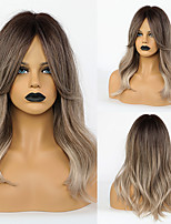 cheap -Synthetic Wig Body Wave With Bangs Wig Medium Length Ombre Grey Synthetic Hair 20 inch Women's Simple Fashionable Design Women Dark Gray