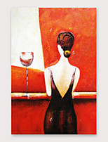 cheap -IARTS®Hand Painted Red wine and beauty Oil Painting   with Stretched Frame For Home Decoration