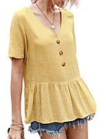 Недорогие -Жен. Блуза Цветочный принт Верхушки V-образный вырез Повседневные Лето Черный Синий Желтый S M L XL