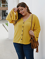 cheap -Women's Blouse Solid Colored Cut Out V Neck Tops Basic Fall Winter Black Yellow Gray