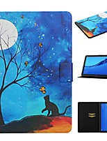 cheap -Case For Huawei  Mediapad T5 10 Mediapad M5 Lite 10 Card Holder with Stand Pattern Full Body Cases Cat PU Leather