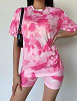 cheap -Women's T shirt Tie Dye Shirt Tee / T-shirt Sports Shorts Sweatshorts Blue Pink Tie Dye Crew Neck Color Block Cute Sport Athleisure Shorts T Shirt Short Sleeves Breathable Soft Comfortable Yoga