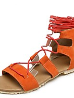 cheap -Women's Sandals Roman Shoes / Gladiator Sandals Summer Flat Heel Open Toe Daily PU Black / Orange / Brown