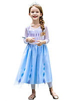 cheap -Princess Elsa Dress Flower Girl Dress Girls' Movie Cosplay A-Line Slip Blue Dress Cloak Halloween Children's Day Masquerade Polyester